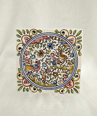 Coimbra PORTUGAL trivet, sec XVII hand-painted pottery
