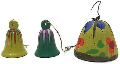 Wooden Handpainted Christmas Bells Made in Spain Clay Handpainted Bell