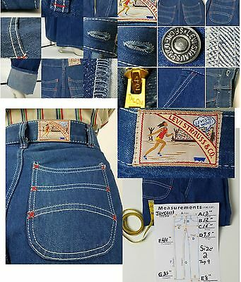 1960s Levis High Waisted Wide Leg Blue Jeans Womens 26x35 Deadstock RARE Vintage