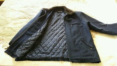 Herman Kay Blue Quilted Wool Blend Zippered Chore Coat Jacket Size 46