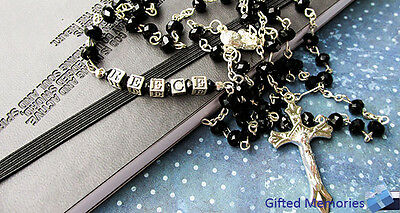 Black Crystal Personalised Rosary Beads complete with name in sterling silver