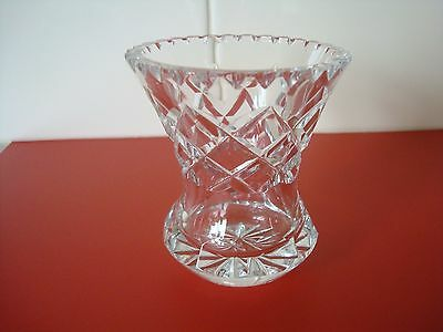 Small Size Diamond Cut Crystal Vase With Fluted Cut Edges
