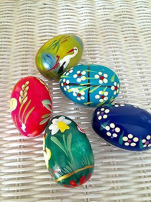 Set 5 Vintage Erzgebirge Germany Easter Eggs Lamb Chick Colorful Hand Painted