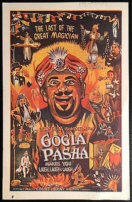 Last Great Magician Gogia Pasha Autographed Advertising Postcard, Gilly Gilly