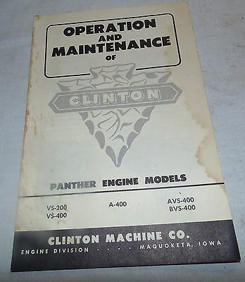 Clinton Engine, Operation and Maintenance Manual, Panther, VS-200, Mower, (T)