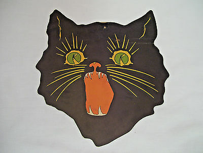 Early Scary Black Cat Halloween Cardboard Cut Out