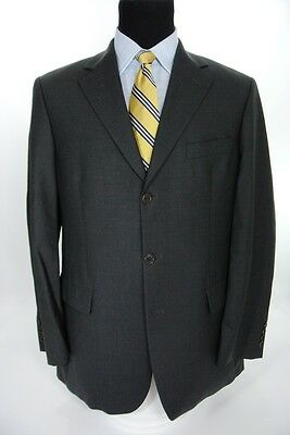 Brooks Brothers 346 Stretch Charcoal Gray 3 Btn Suit Flat Front 41 L 34 W