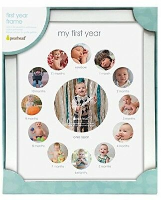 My First Year Monthly Photo Baby Keepsake Photo Frame, White Picture Frame