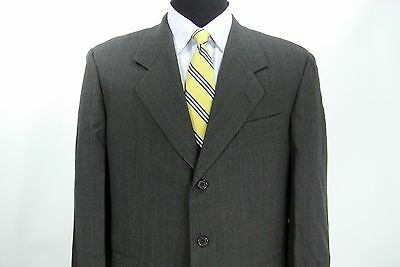 Hickey Freeman 3 Btn Suit Jacket Pants Charcoal Gray Copper Stripe 42 R x 35 W