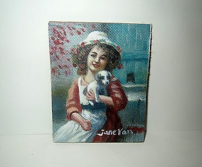 Antique Miniature Painting Portrait GIRL WITH DOG - STUNNING Work Of Art