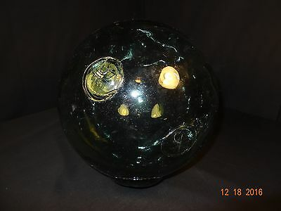 Vintage Hand Blown Glass Japanese Fishing Float 10 inch Diameter Double F Mark