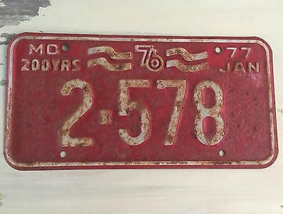 MISSOURI - Vtg 1976 Bicentennial Red License Plate, Low Number, 77 January