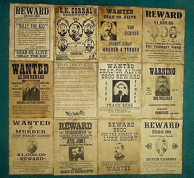 Billy the Kid Jesse James Old West Wanted Posters Doc Holliday O.K. Corral