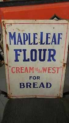 """EARLY VINTAGE MAPLE LEAF BREAD FLOUR """"CREAM OF THE WEST"""" TIN LITHO SIGN-24x18!!"""