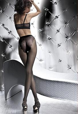 Fiore White Sheer Pantyhose SMALL Klara 20 den French Cut Lace Panty tights