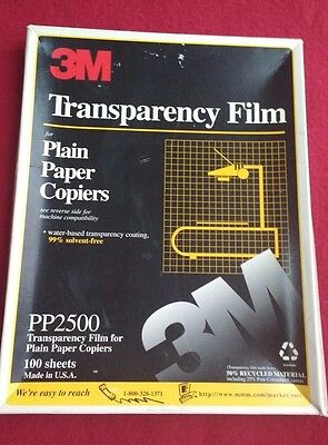 3M TRANSPARENCY FILM PLAIN PAPER COPIERS PP2500 43 SHEETS-open box 8 ½ X 11""