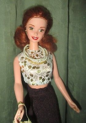 Beautiful Redhead Barbie W/delicate Gold Earrings/necklace/dressed