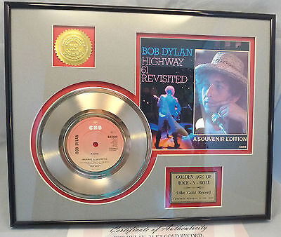 Bob Dylan Commemorative Gold Record 1984 Highway 61 Revisited Framed 24k Display