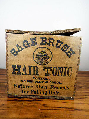 Antique c 1907 Sage Brush Hair Tonic Wood Box & 12 Amethyst Bottles