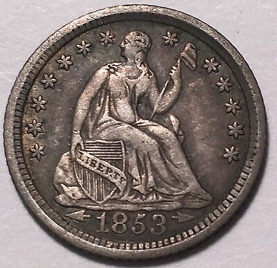 1853-O  With Arrows Seated Liberty Half 10C High Circulated Grade!