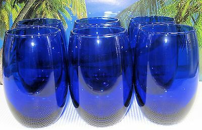 Pretty Sweet Set Of 6 Deep Cobalt Blue Stemless Glass Wine And Water  Glasseware