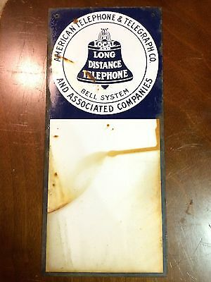 """Vintage American Telephone & Telegraph Porcelain Sign Bell System Salvaged 18x8"""""""
