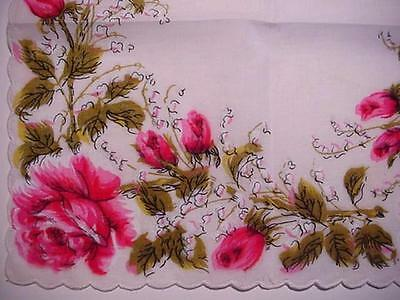 Vintage PINK ROSES & Lily of the Valley Handkerchief Floral CHIC
