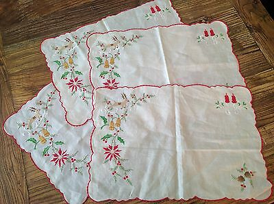 Vintage Linen Placemats Set of 4 Madeira Embroidery Christmas Reindeer Pinecone