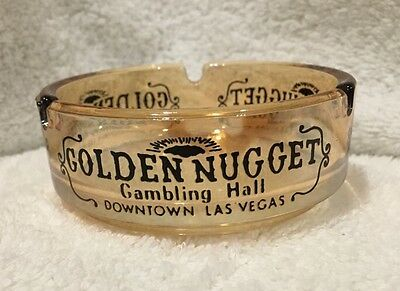 Golden Nugget Gambling Hall, Las Vegas, Nevada  Luster Glass Ashtray Casino ADV
