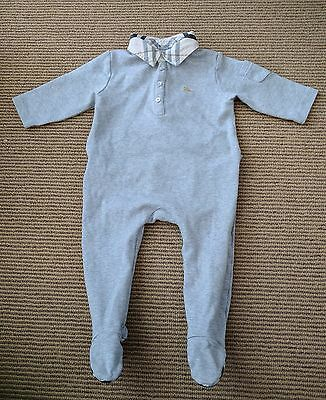 BURBERRY 12 months One Pc Footie Romper Sleeper Gray Check Collar EUC