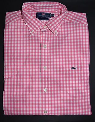 New Mens Vineyard Vines Slim Fit Tucker Corozo Pink Gingham Shirt Size Large Nwt