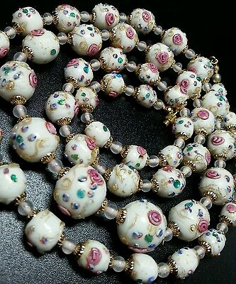 Rare Vintage Antique Venetian Murano White Wedding Cake Glass Bead Necklace