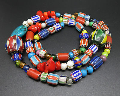 Vintage Chevron Trade Beads Necklace Beads Mixed Type AC25