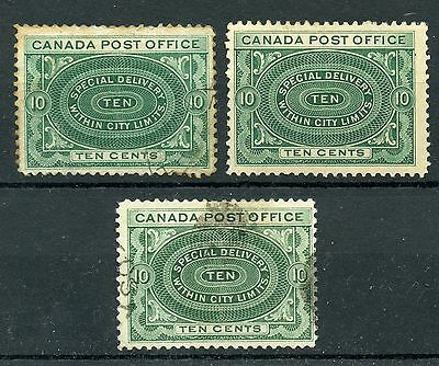 Weeda Canada E1, E1a, E1ii Mint/Used lot of 1898 Special Delivery issue CV$132