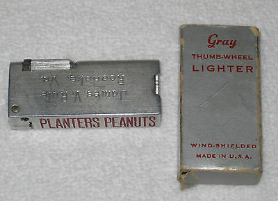 Planters Mr. Peanut Rare Gray Thumb-Wheel Lighter Original Box