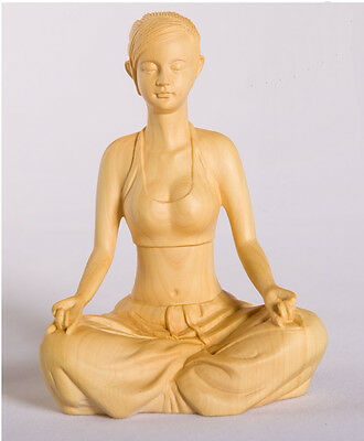 Fine Chinese Boxwood handwork carving Yoga girl figure statue 02