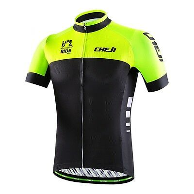 Black/Green CheJi Men Summer Cycling Short Sleeve Maillot Bike Jersey Top S-3XL