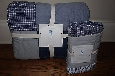 NWT Pottery Barn Kids Sullivan Patch twin quilt & euro sham navy blue chambray