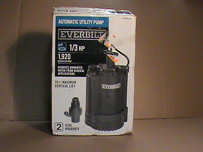 Everbilt 1/3 HP submersible automatic utility pump  UT03301 new