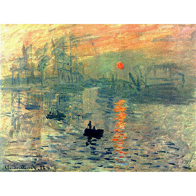 Abstract Canvas Print Monet Painting Repro Home Decor Wall Art Sunrise Framed