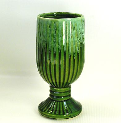 Green Drip Ribbed Footed Flower Vase Planter American Bisque Vintage