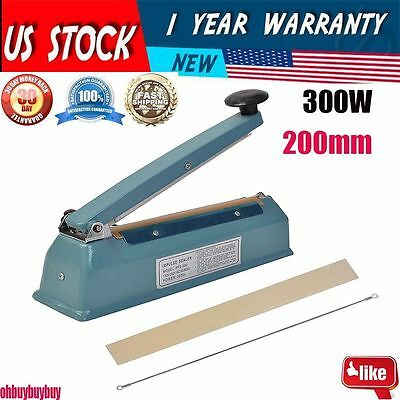 """8"""" Hand Impulse Sealer With Cutter Heat Seal Plastic Poly Manual Bag Closer MS"""