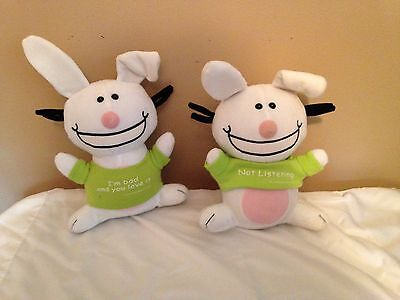 Lot of 2 Jim Benton happy bunnies white green plush sarcastic snarky