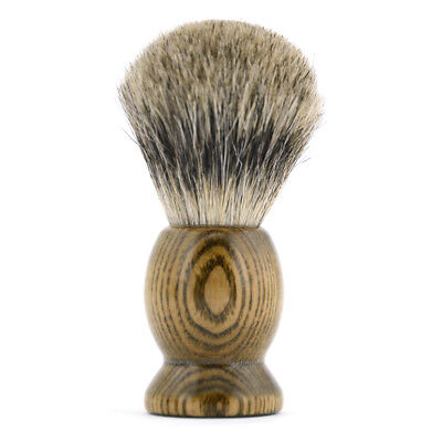 Men FINEST Badger Hair Wet Shaving Brush Natural Wood Retro Handle Salon Barber