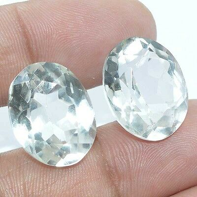 35.25 Ct. FACETED CHRYSTAL QUARTZ OVAL SHAPE PERFECT PAIR LOOSE GEMSTONES BRAZIL