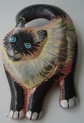Siamese Cat Painted Lacquer Wood Pin Brooch Blue Eyes Curious Inquisitive Kitty