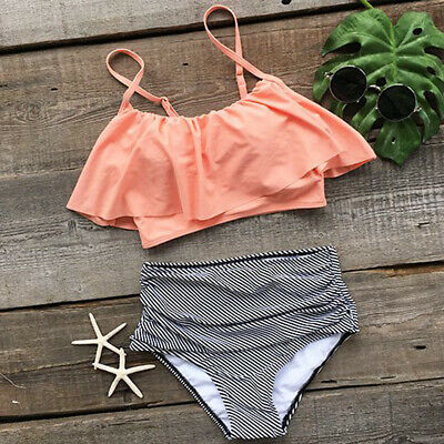 Swimwear Women High Waist Triangle Bikini Set Bandage Push-Up Swimsuit Bathing