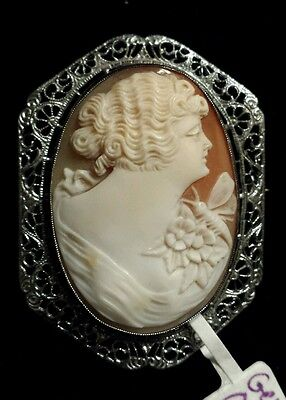Sterling Silver Handcarved SIGNED Cameo Brooch Very Old!, Butterfly on Shoulder