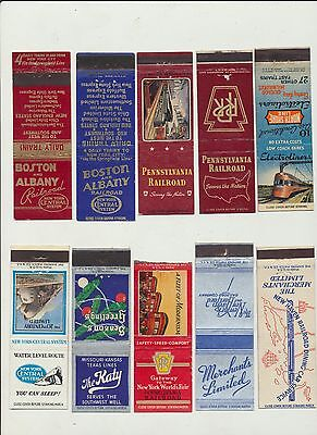 Lot of 10 Railroad Matchbook Covers circa 1930s & 40's Electroliner The Katy +++