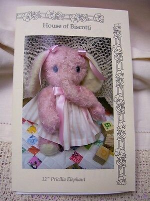 """Priscilla"" Elephant""  Pattern   Mohair Soft Animal"